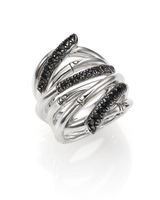 John Hardy   Metallic Bamboo Black Sapphire & Sterling Silver Wide Multi-row Ring   Lyst