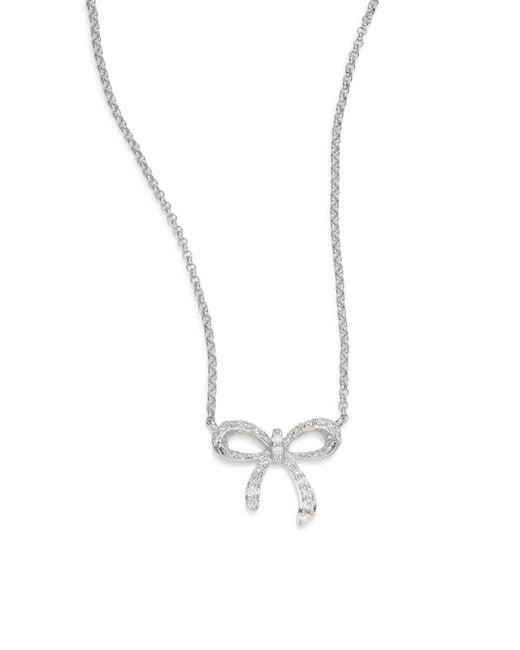 Saks Fifth Avenue   0.13 Tcw Diamond & 14k White Gold Bow Necklace   Lyst