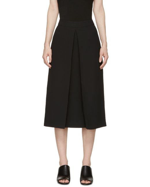 mcq mcqueen black pleat front skirt in black lyst