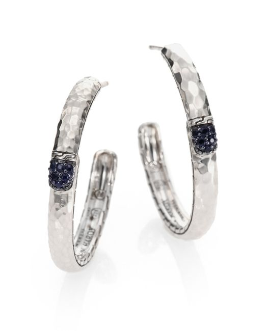 John Hardy | Metallic Palu Black Sapphire & Sterling Silver Medium Hoop Earrings/2 | Lyst