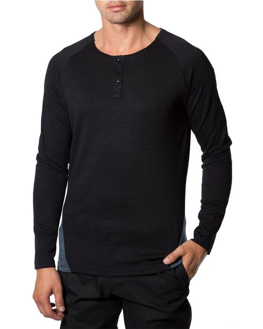 7 Diamonds | Black Norva Two-tone Cotton Henley Tee for Men | Lyst
