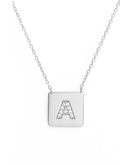 Argento Vivo | Metallic Cubic Zirconia Initial Pendant Necklace | Lyst