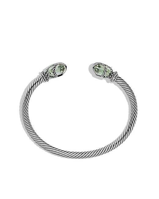 David Yurman | Metallic Cable Wrap Bracelet With Prasiolite And Diamonds | Lyst