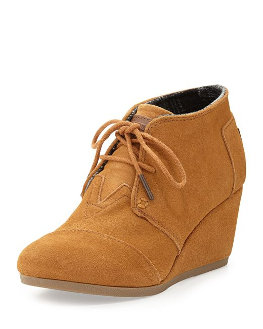 toms suede desert wedge boot in brown chestnut save 26