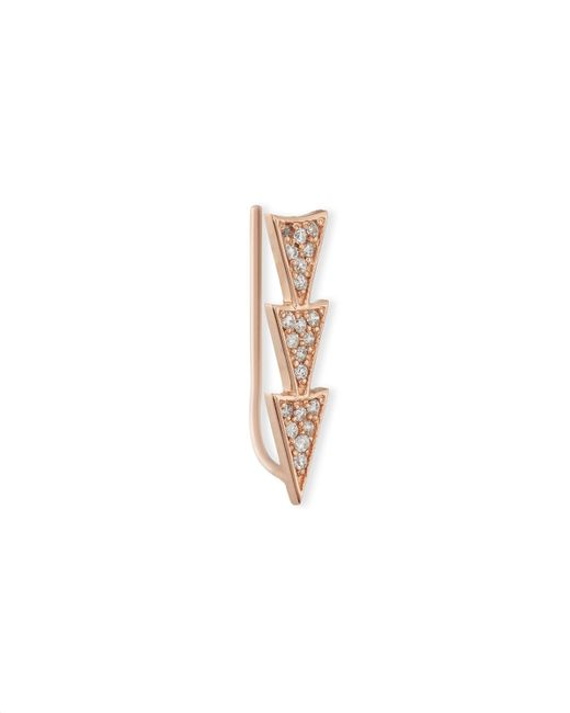 Sydney Evan | Pink 14k Rose Gold Triple Diamond Triangle Earring | Lyst