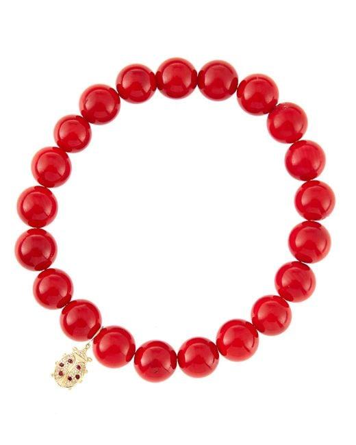 Sydney Evan   8Mm Red Coral Beaded Bracelet With 14K Gold/Diamond Medium Ladybug Charm (Made To Order)   Lyst