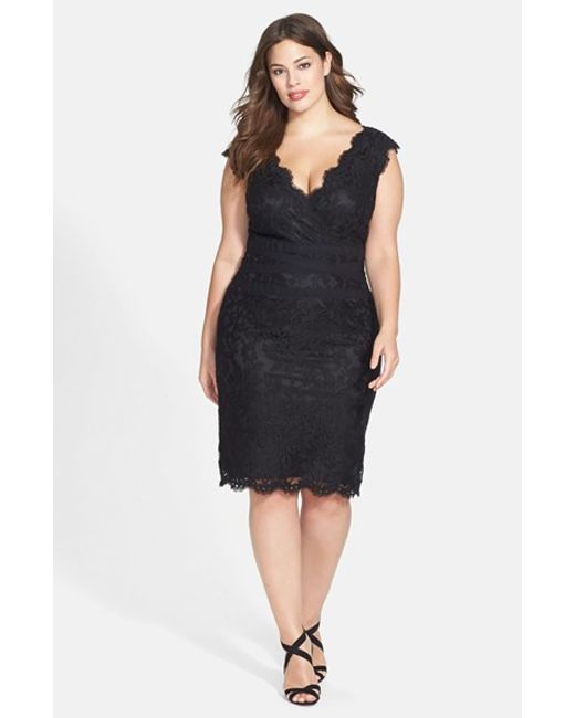 Tadashi Shoji | Black Embroidered Lace Sheath Dress (Plus Size) | Lyst