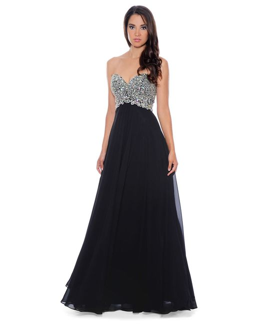 Embellished Bodice Strapless Wedding Gown: Decode 1.8 Embellished Strapless Gown In Black