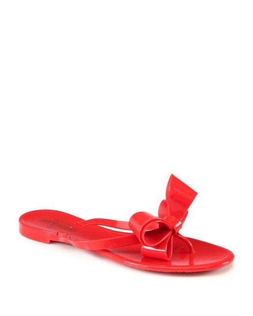 Valentino  Red Couture Bow Jelly Flip Flops  Lyst-1097