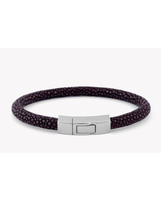 Tateossian | Galuchat Bracelet In Brown Stingray Skin With Silver Clasp for Men | Lyst
