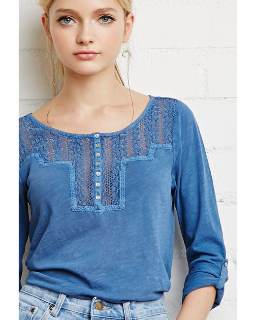 Forever 21 | Blue Crocheted Slub Knit Top | Lyst