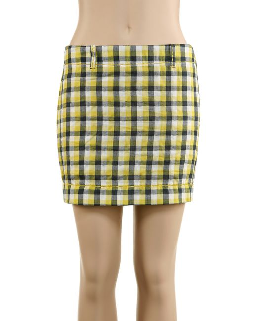max cotton doubleweave plaid skirt in blue yellow