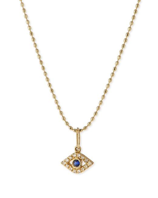 Sydney Evan | Metallic 14k Gold Tiny Evil Eye Diamond Charm | Lyst