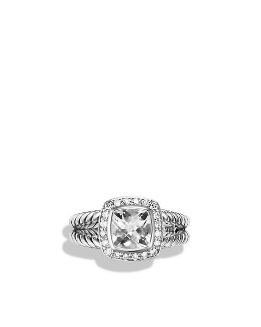 David Yurman | Metallic Petite Albion Ring With White Topaz And Diamonds | Lyst