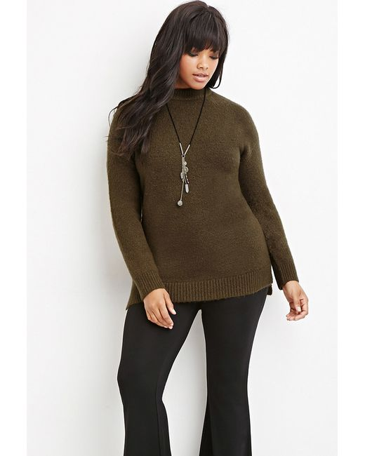 Forever 21 | Green Plus Size Longline Fuzzy Sweater | Lyst