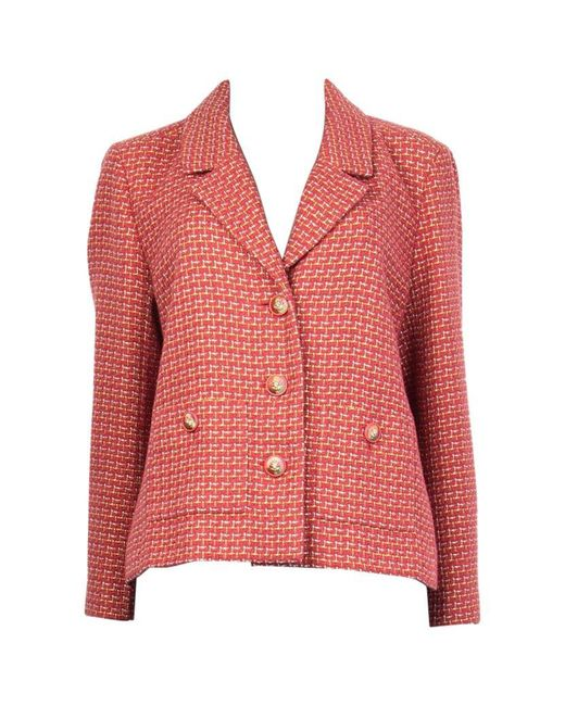Chanel Pink Lime Silver Cotton Tweed Collared Blazer 46 Xxl