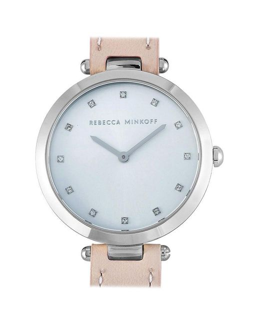 Rebecca Minkoff Metallic Nina Silver-tone Blush Leather Strap Watch 2200398