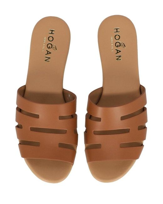 Hogan Leather Woman Slippers Eu 36.5 in Brown - Lyst