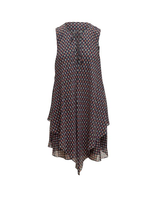10 Crosby Derek Lam Blue Derek Lam 10 Crosby Navy & Multicolor Silk Sleeveless Dress