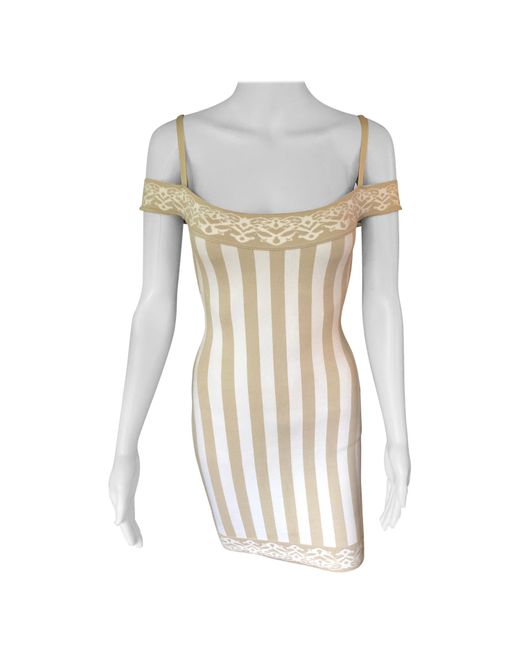 Alaïa Natural Azzedine Alaia S/s 1992 Vintage Cold-shoulder Striped Bodycon Mini Dress