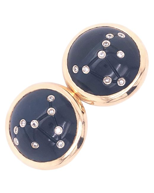Vhernier White Constellation Collection Capricorn Diamond Hawk's Eye Earrings