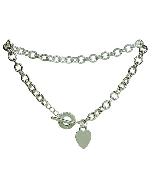 Tiffany & Co Metallic Heart Toggle Chain Sterling Silver Link Necklace