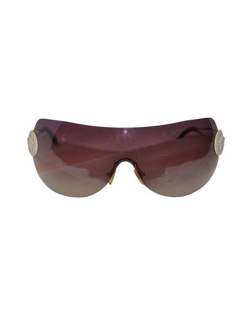 Versace White Wrap-around With Hardware & Signature Logo Sunglasses