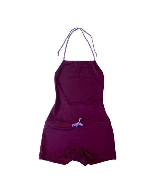 Chanel Purple New One-piece Logo Swimsuit Bodysuit Swimwear Beachwear