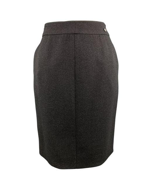 Chanel Black Size L Sparkle Wool Pencil Skirt