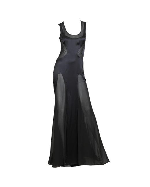 Versace Black 2000s Silk Charmeuse Gown With Sheer Chiffon Peek-a-boo Panels