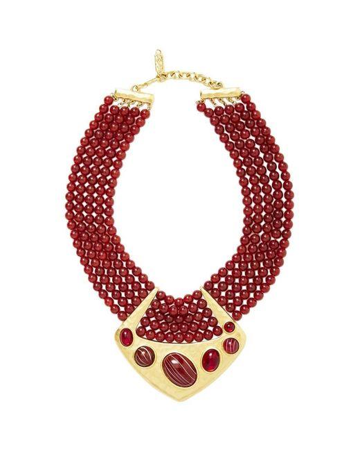 Saint Laurent Multicolor Multistrand Bib Necklace With Hammered Gold Detail