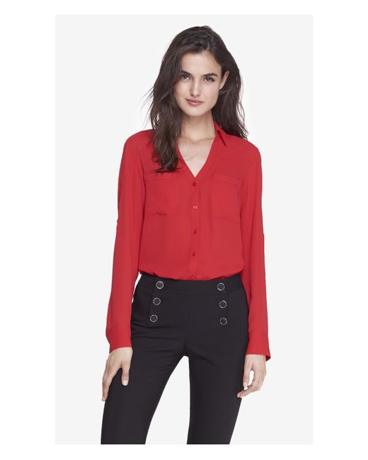 Express | Red Slim Fit Convertible Sleeve Portofino Shirt | Lyst