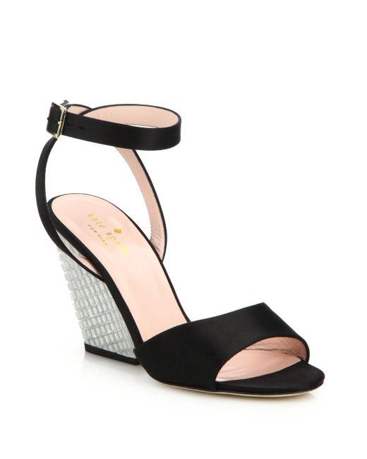 kate spade isadora satin jeweled wedge sandals in black lyst