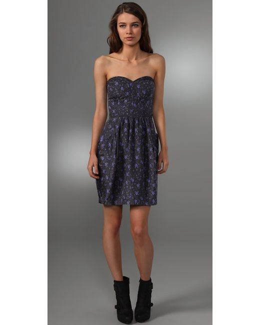 Rebecca Taylor   Blue Quilted Silk Tea Dress   Lyst