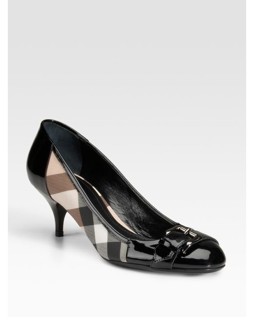 Burberry | Black Check Print Coated Canvas & Patent Leather Pumps | Lyst