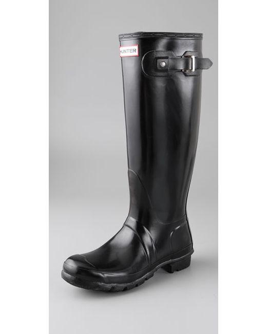 Hunter   Black Original Gloss-finish Rain Boots   Lyst