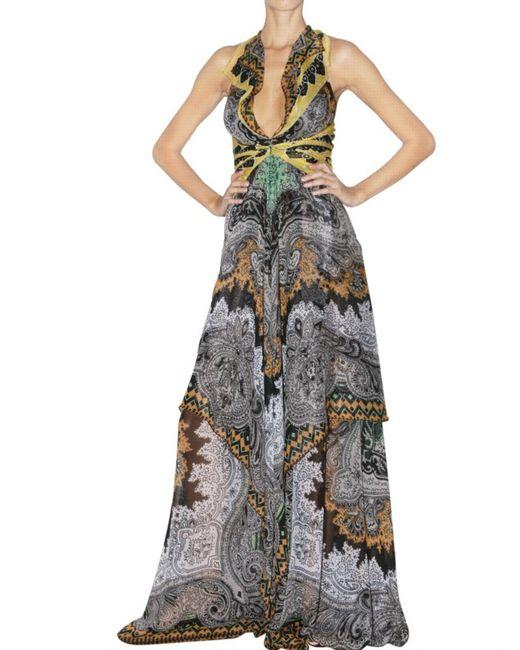Etro | Green Printed Silk Chiffon Wrap Effect Gown | Lyst