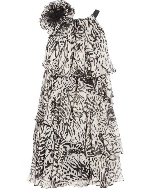 Notte by Marchesa | Black Tiered Silk Chiffon Dress | Lyst