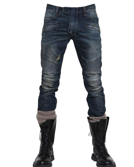 Balmain | Blue Distressed Biker Jeans for Men | Lyst