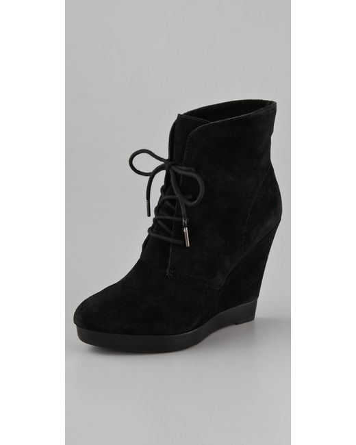 Kors by Michael Kors | Black Channing Suede Wedge Ankle Boot | Lyst