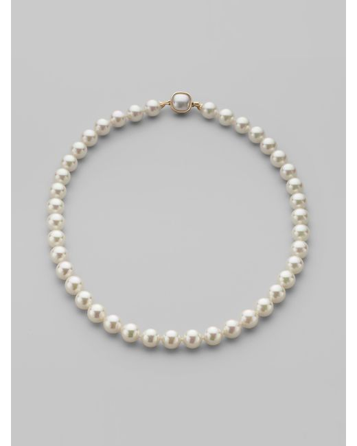 Majorica | 10mm White Pearl Necklace/18 | Lyst