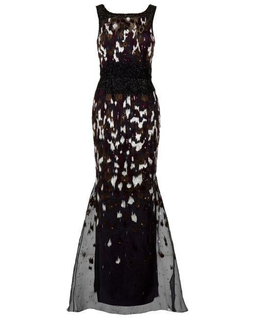 Carolina Herrera   Black Ikat Sequin Gown   Lyst
