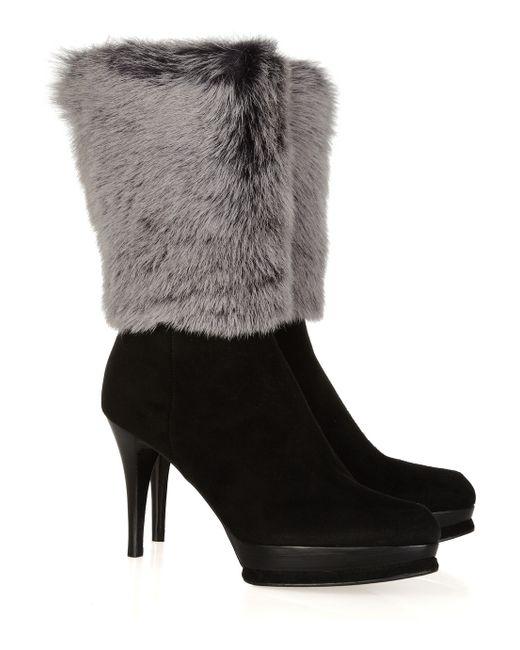 Stuart Weitzman   Black Faux Fur Suede Calf Boots   Lyst