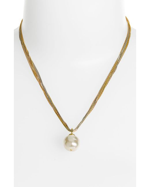 Majorica | 16mm White Baroque Pearl Multi-chain Pendant Necklace | Lyst