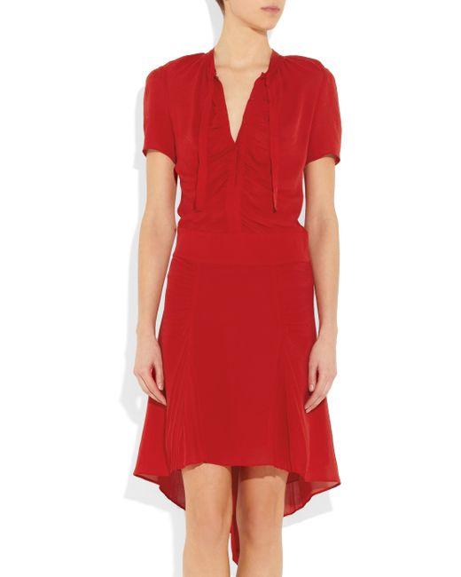 JOSEPH | Red Cinders Silk-Georgette Dress | Lyst
