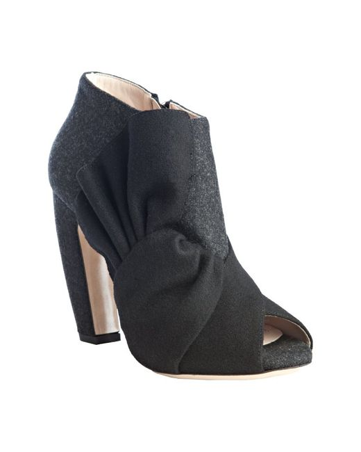 Miu Miu | Blue Charcoal Felted Wool Knotted Peep Toe Bootie | Lyst