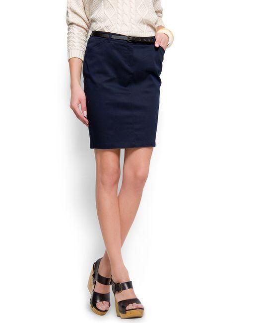 Mango | Blue Straight-cut Pocket Skirt | Lyst