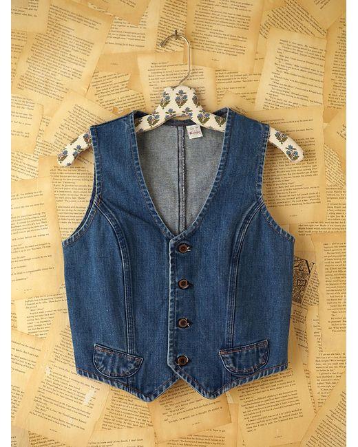 Free People   Blue Micro Woven Denim Vest   Lyst