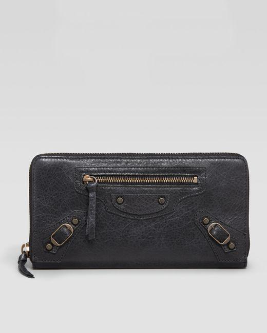 Balenciaga | Black Classic Lambskin Zip Continental Wallet | Lyst