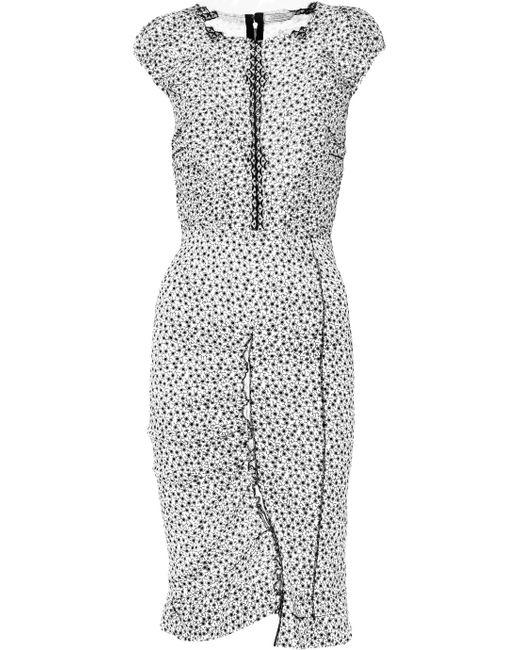 Nina Ricci | Black Printed Stretch Linen-blend Dress | Lyst